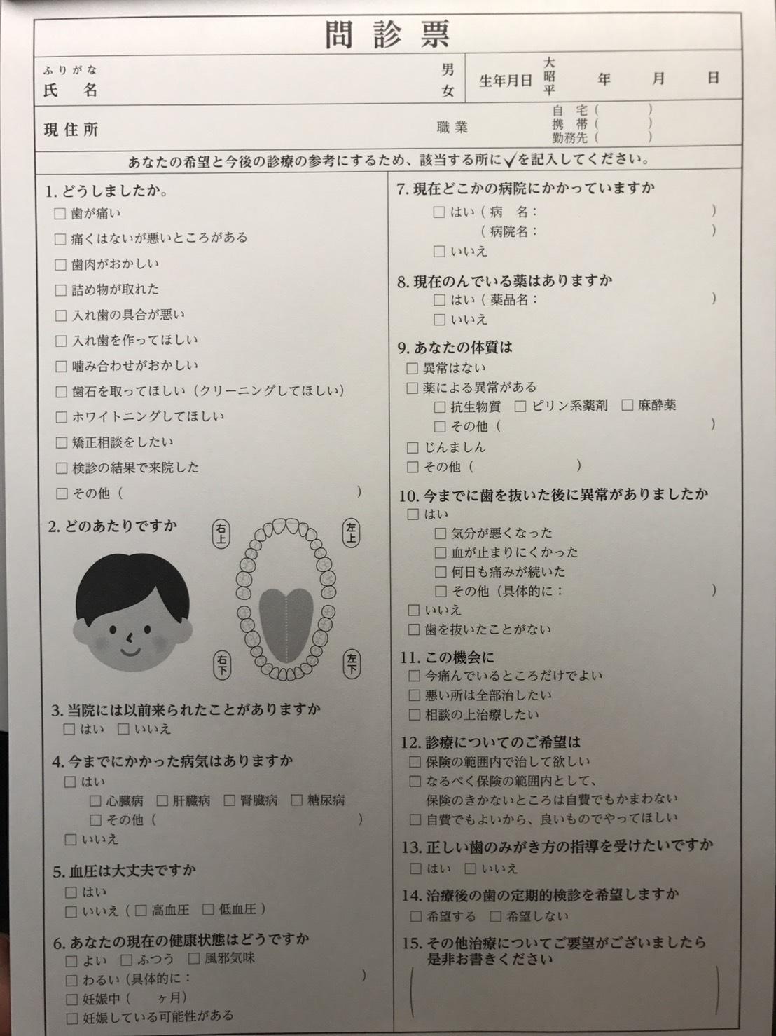 福島訪問歯科医院問診