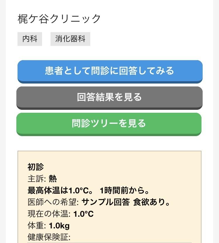梶ケ谷WEB問診デモ